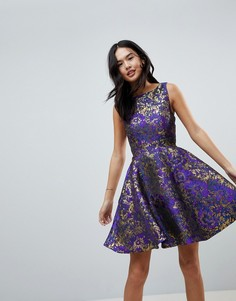 Жаккардовое короткое приталенное платье для выпускного Little Mistress - Фиолетовый