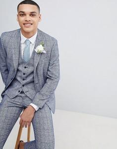 Голубой пиджак скинни в клетку Moss London Wedding - Синий