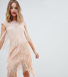 Платье миди с пайетками и бахромой ASOS DESIGN Petite - Розовый