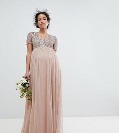 Платье макси с V-образным вырезом и пайетками Maya Maternity - Коричневый