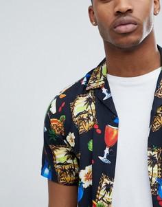 Рубашка классического кроя с отложным воротником и принтом ASOS DESIGN - Черный