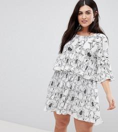 Ярусное платье с цветочным принтом AX Paris Plus - Мульти