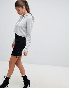 Джинсовая юбка со шнуровкой Noisy May - Черный