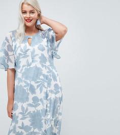 Платье-кимоно макси в стиле ретро с цветочным принтом Junarose - Мульти