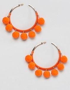 Серьги-кольца с помпонами River Island - Оранжевый