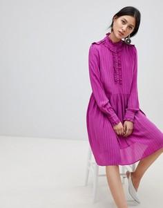 Свободное платье с высоким воротом и оборкой Y.A.S - Розовый