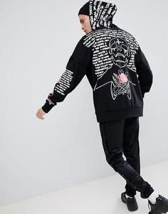 Худи черного цвета с принтом на спине и рукавах Sixth June - Черный