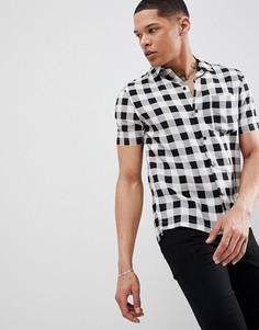 Узкая рубашка в клетку с короткими рукавами и отложным воротником Religion - Мульти