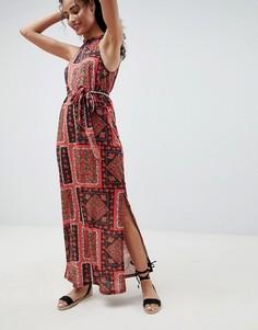 Платье макси с принтом и поясом ASOS DESIGN - Мульти
