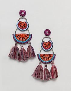 Крупные серьги с кисточками New Look - Оранжевый