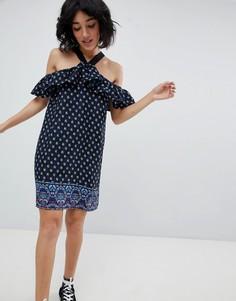 Платье с вырезами на плечах и цветочным принтом Daisy Street - Мульти