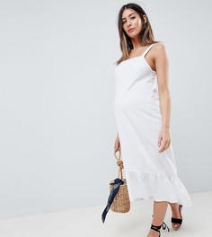 Платье миди с квадратным вырезом и асимметричным подолом ASOS DESIGN Maternity - Белый