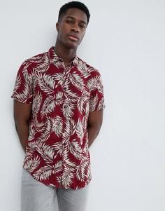 Бордовая рубашка классического кроя с принтом перьев New Look - Красный