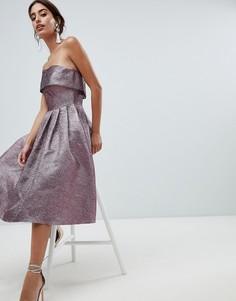 Платье для выпускного без бретелек с эффектом металлик Forever Unique - Фиолетовый