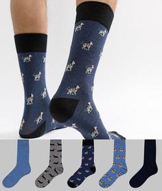 Набор из 5 пар синих носков с узором в виде собак River Island - Синий