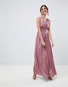 Атласное платье макси с открытой спиной Little Mistress - Розовый
