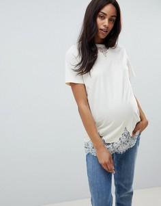 Кремовая удлиненная футболка с кружевом ASOS DESIGN Maternity - Кремовый