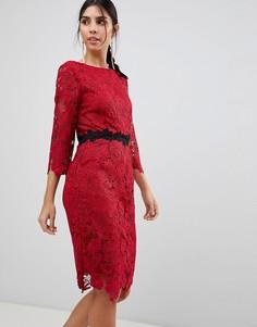 Кружевное платье-футляр с рукавами длиной 3/4 Paper Dolls - Красный