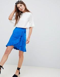 Мини-юбка с запахом и поясом ASOS DESIGN - Синий