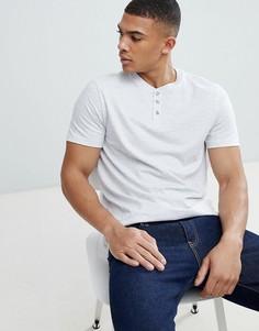 Серая футболка с воротником с застежкой на пуговицах Burton Menswear - Серый