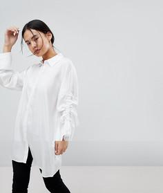Oversize-рубашка с регулируемой длиной рукавов Noisy May - Белый