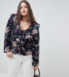 Блузка с цветочным принтом и оборками Missguided Plus - Темно-синий