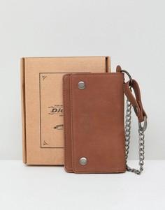 Коричневый кожаный кошелек с цепочкой Dickies Deedsville - Коричневый