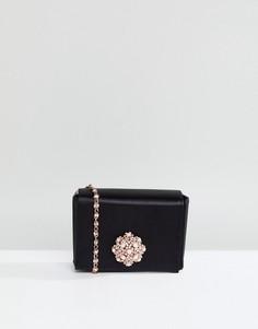 Атласная сумка-футляр с брошью Ted Baker - Черный