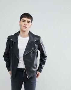 Черная кожаная куртка Weekday - Черный