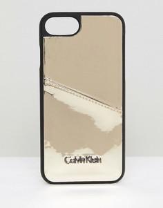 Чехол металлик для iPhone 6/6s/7/8 с карманом для карт Calvin Klein - Золотой