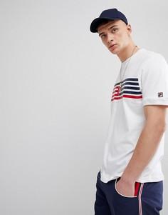 Белая футболка со вставкой в полоску и логотипом Fila Vintage - Белый