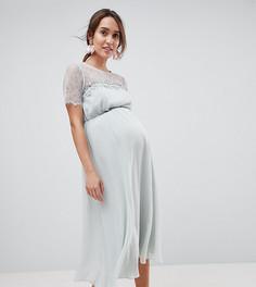 Платье миди с кружевом и цветочной отделкой ASOS Maternity - Зеленый