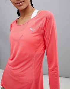 Красная футболка с длинными рукавами и логотипом Puma Running - Красный