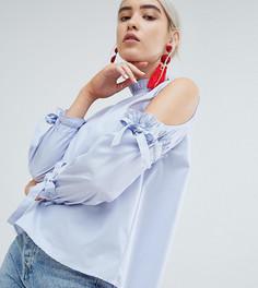Блузка в полоску с открытыми плечами и завязками Boohoo - Синий