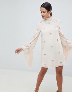 Платье мини с бахромой на рукавах ASOS DESIGN - Розовый