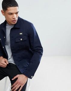 Синяя джинсовая куртка с золотистой нашивкой Love Moschino - Синий