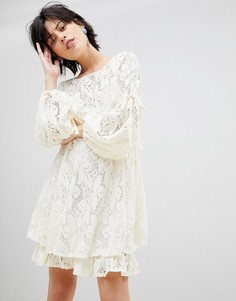 Кружевное платье с завязками на рукавах Free People Ruby - Белый