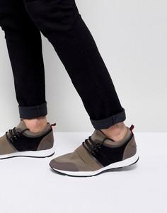 Беговые кроссовки цвета хаки из неопрена HUGO - Бежевый