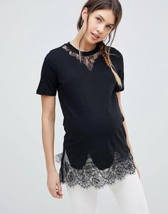 Длинная черная футболка ASOS DESIGN Maternity - Черный