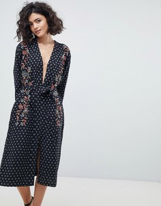 Платье миди с вышивкой Intropia - Черный