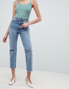 Рваные прямые джинсы ASOS DESIGN Recycled Florence - Синий
