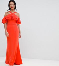Оверсайз-платье макси с оборками Jarlo Petite - Оранжевый
