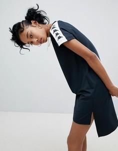 Платье-футболка с фирменной лентой и асимметричным краем Kappa - Черный