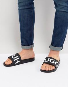 Черные шлепанцы с логотипом HUGO - Черный