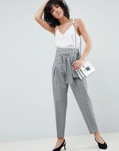 Зауженные брюки в клетку с завязкой на поясе и молнией ASOS DESIGN tailored - Мульти