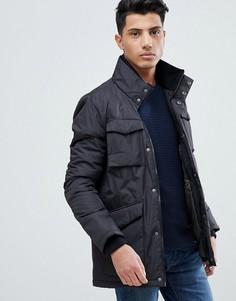 Куртка с трикотажным воротом и 4 карманами Threadbare - Черный