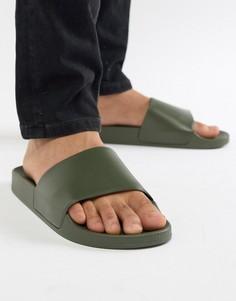 Темные шлепанцы хаки New Look - Зеленый