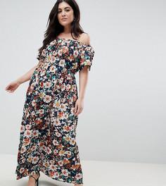 Платье макси с открытыми плечами и принтом Lovedrobe - Мульти