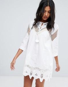 Платье-туника с вышивкой ришелье To Be Adored Yana - Белый