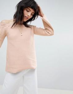 Топ с рукавами клеш и открытыми плечами NYTT - Розовый